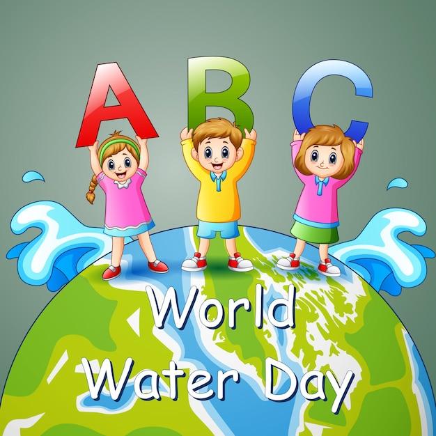 Weltwassertagentwurf mit kindern, die abc-brief halten Premium Vektoren