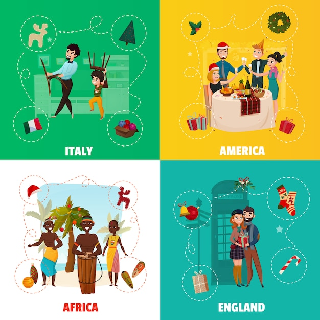Weltweihnachtstraditions-konzept Kostenlosen Vektoren