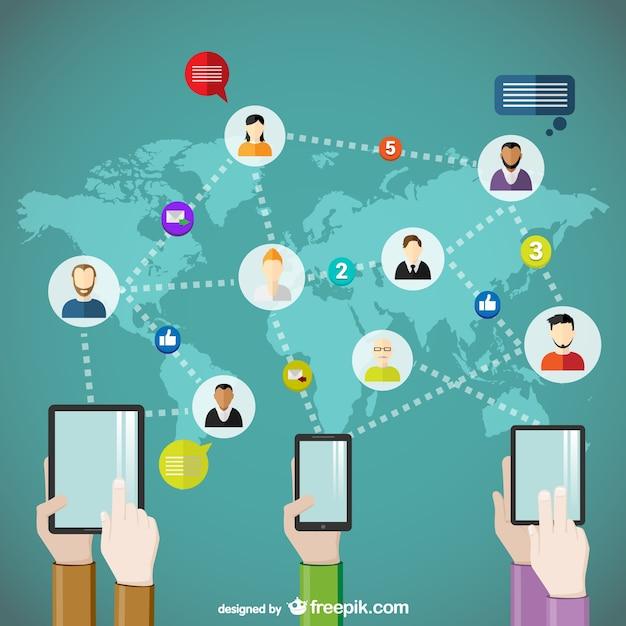 Weltweit kommunikationskonzept Kostenlosen Vektoren
