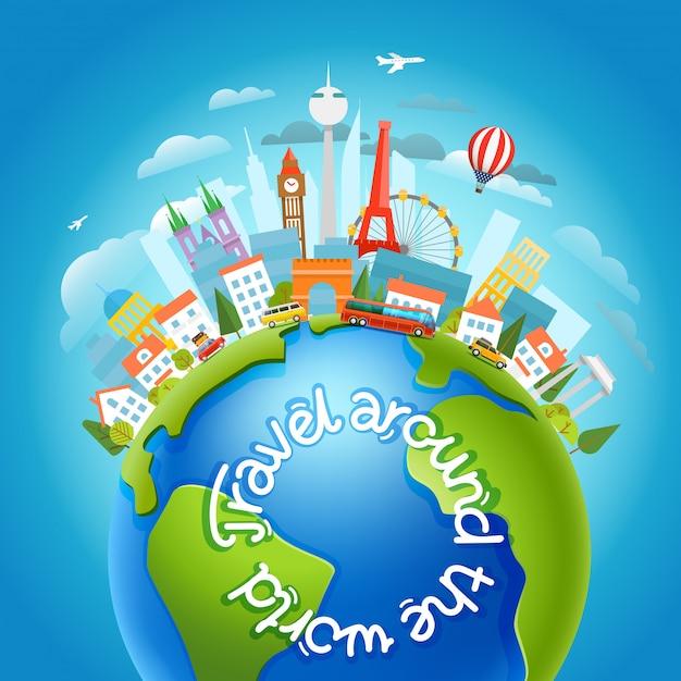 Weltweit reisendes konzept mit kalligraphischem logo Premium Vektoren