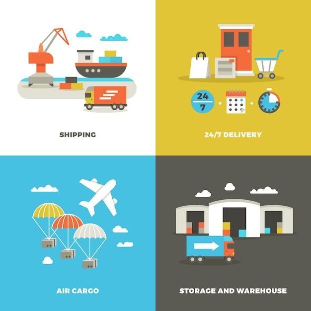 Weltweite versandlogistik und industrielager Premium Vektoren