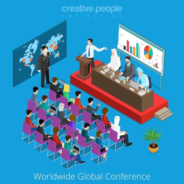 Weltweites globales konzept für konferenzszenen. Premium Vektoren