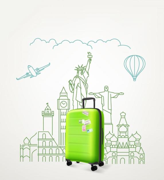Weltweites konzept mit grüner reisetasche. vektorabbildung mit taschenreise Premium Vektoren