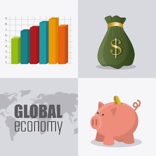Weltwirtschaft, geld und wirtschaft Kostenlosen Vektoren