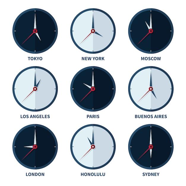 Weltzeituhren für zeitzonen des unterschiedlichen stadtvektorsatzes Premium Vektoren