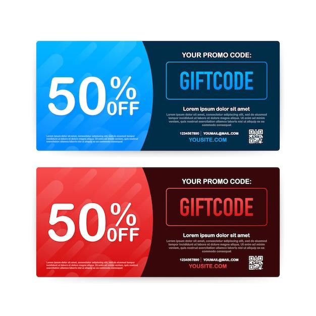 Werbe-code. geschenkgutschein mit gutscheincode. premium egift card für e-commerce, online-shopping. marketing. illustration. Premium Vektoren