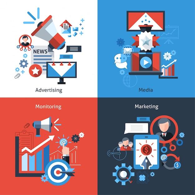 Werbe-marketing-set Kostenlosen Vektoren