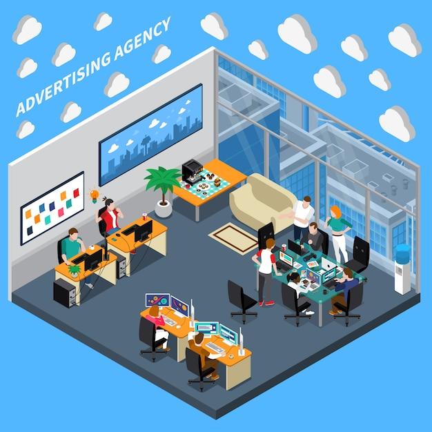 Werbeagentur isometrische zusammensetzung Kostenlosen Vektoren
