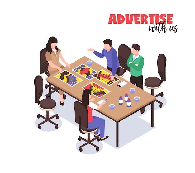 Werbeagentur-konzept mit kreativen denksymbolen isometrisch Kostenlosen Vektoren