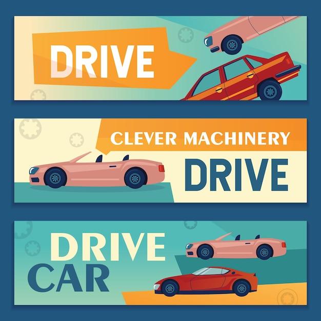 Werbebanner-designs mit modernen autos. fahrzeugfahnen auf buntem hintergrund Kostenlosen Vektoren