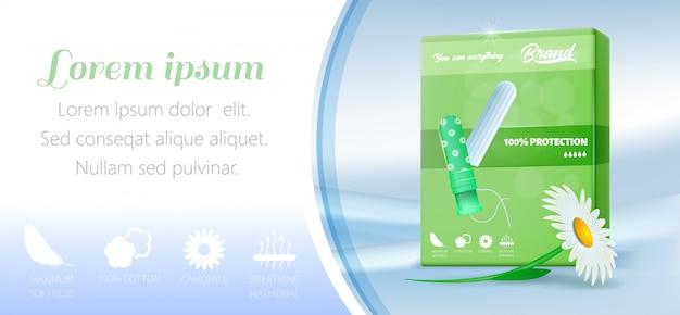 Werbebanner mit baumwolltampon in grüner packung Premium Vektoren
