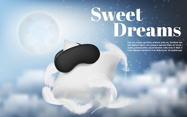 Werbebanner mit realistischem weißem kissen, augenbinde, federn Kostenlosen Vektoren