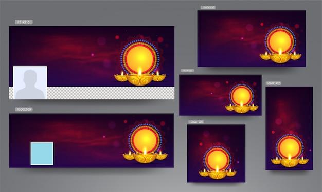 Werbebanner, poster und vorlage mit beleuchteter öllampe (diya) und leerem kreisförmigem rahmen für ihre nachricht für das diwali festival. Premium Vektoren