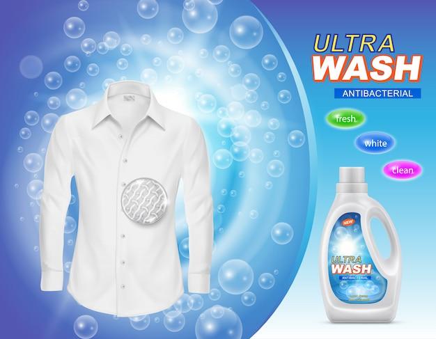 Werbebanner von flüssigwaschmittel für wäsche oder fleckentferner in plastikflasche Kostenlosen Vektoren