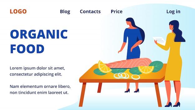 Werbebild. frau in der nähe von tabelle. bio-lebensmittel. Premium Vektoren