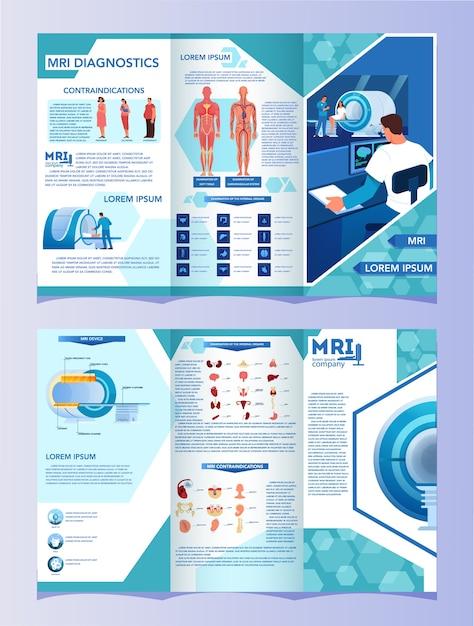 Werbebroschüre für magnetresonanztomographie. medizinische forschung und diagnose. moderner tomographiescanner. gesundheitskonzept. mrt-broschüre oder flyer mit infografiken. Premium Vektoren