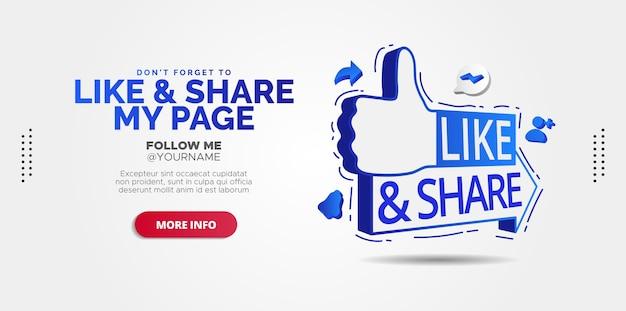 Werbedesigns für like and share-beiträge in sozialen medien. Premium Vektoren
