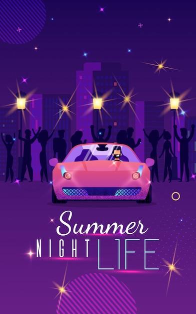 Werbeflyer ist geschriebenes sommer-nachtleben Premium Vektoren