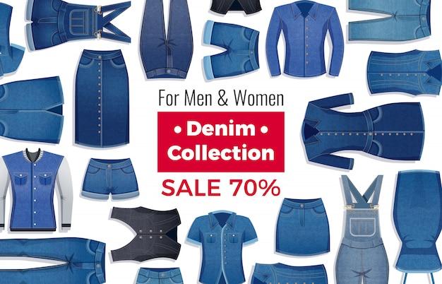 Werbelayout des verkaufs mit rabatt von jeanskleidung auf weiß Kostenlosen Vektoren