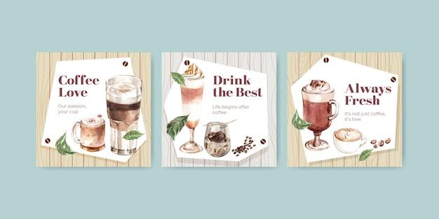 Werben sie vorlage mit koreanischem kaffeestilkonzept für geschäfts- und marketingaquarell Kostenlosen Vektoren