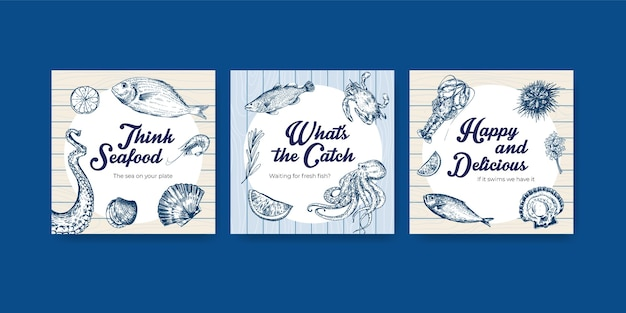 Werben sie vorlage mit meeresfrüchte-konzeptentwurf für marketing-illustration Kostenlosen Vektoren