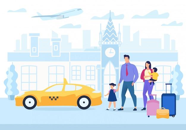 Werbeplakat familienreisen cartoon wohnung. Premium Vektoren