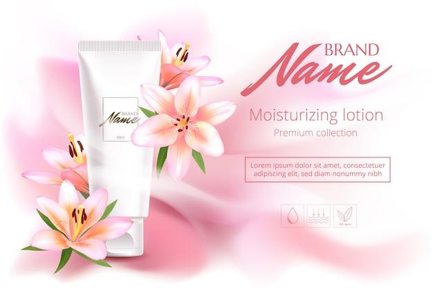 Werbeplakat für kosmetisches produkt mit blumen für katalog, zeitschrift. kosmetisches paket. parfüm-werbeplakat. Premium Vektoren