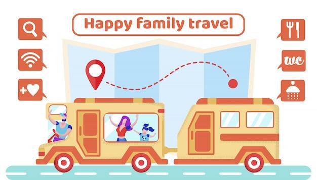 Werbeplakat ist geschrieben happy family travel. Premium Vektoren
