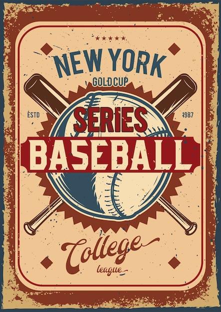 Werbeplakatdesign mit illustration des baseballballs und der vereine Kostenlosen Vektoren