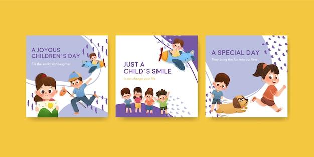 Werbeschablone mit kinderentwurfskonzeptentwürfen Kostenlosen Vektoren