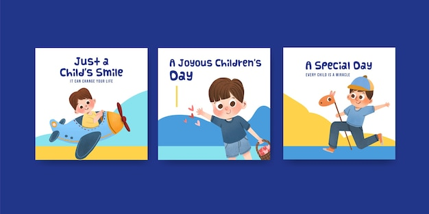 Werbeschablone mit kinderentwurfskonzeptentwurf Kostenlosen Vektoren