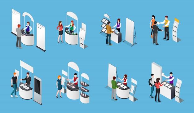 Werbeständer isometric set Kostenlosen Vektoren