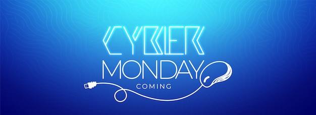 Werbetext oder banner mit typografie von cyber monday. Premium Vektoren