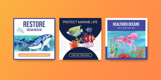 Werbevorlage zum umweltschutzkonzept des weltmeertags mit wal, koralle, nemo und tintenfisch. Kostenlosen Vektoren