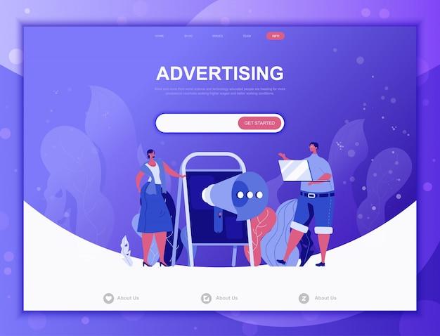 Werbung flaches konzept, landing page web template Premium Vektoren