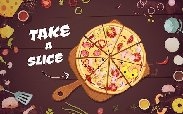 Werbung für pizza mit scheiben auf kulinarischem brett und zutaten Kostenlosen Vektoren