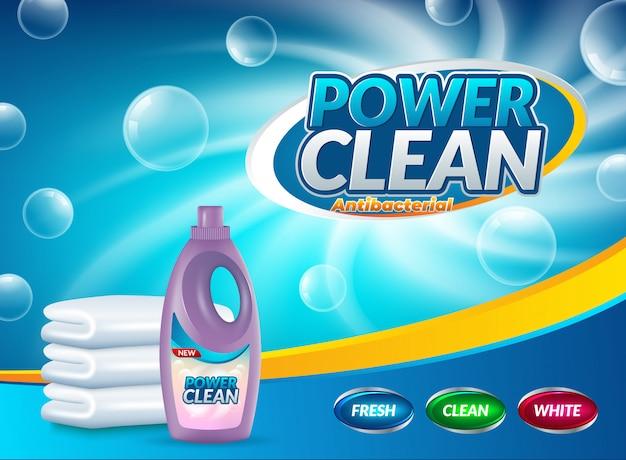 Werbung für waschpulver Premium Vektoren