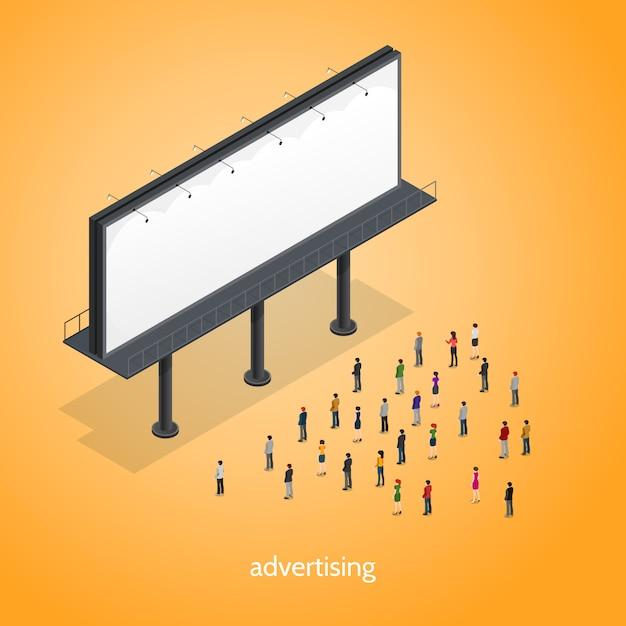 Werbung isometrisches konzept Kostenlosen Vektoren