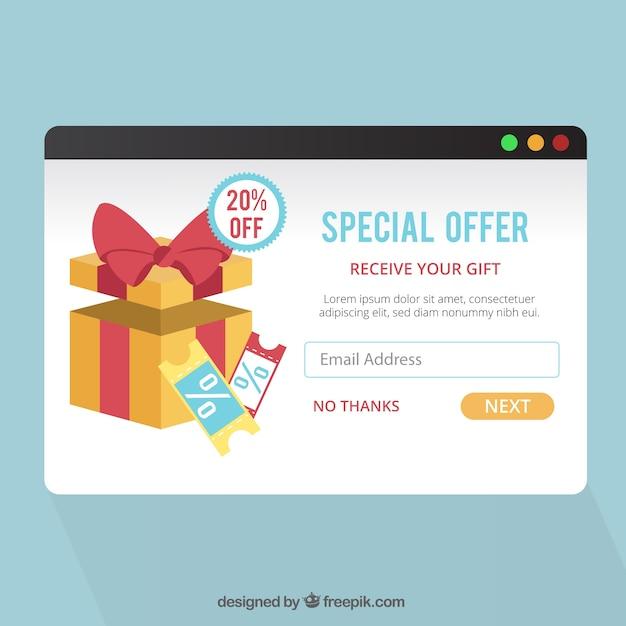 Werbung pop-up-vorlage mit flaches design Kostenlosen Vektoren