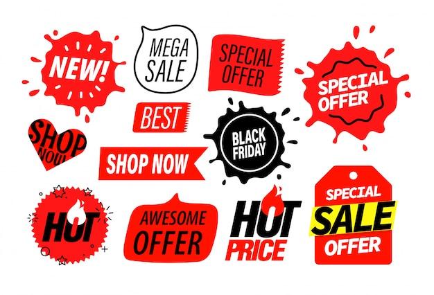 Werbungsinsignien eingestellt, verkaufsfahnenelemente Premium Vektoren