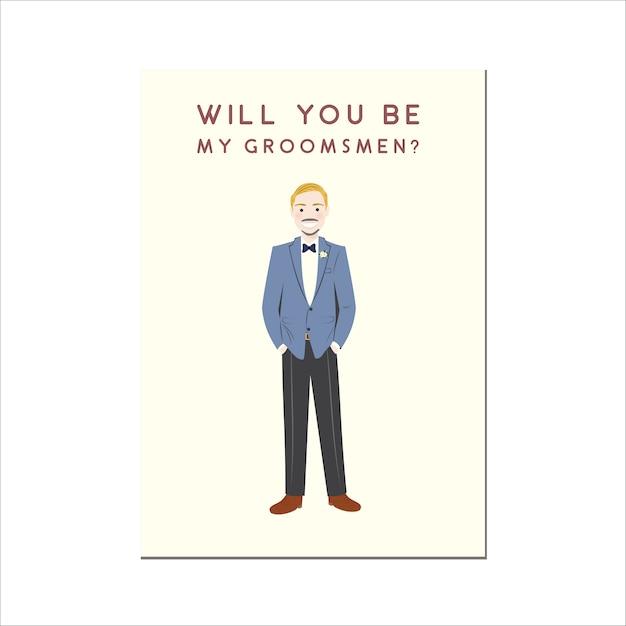 Werden sie meine groomsmen cute cartoon character portrait sein Premium Vektoren