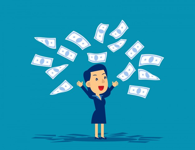 Werfende banknoten der frau in der freude Premium Vektoren
