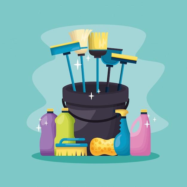 Werkzeuge für den frühjahrsputz Kostenlosen Vektoren