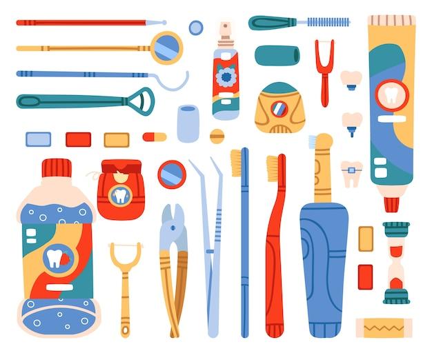 Werkzeuge für mundreinigung und mundhygiene Premium Vektoren