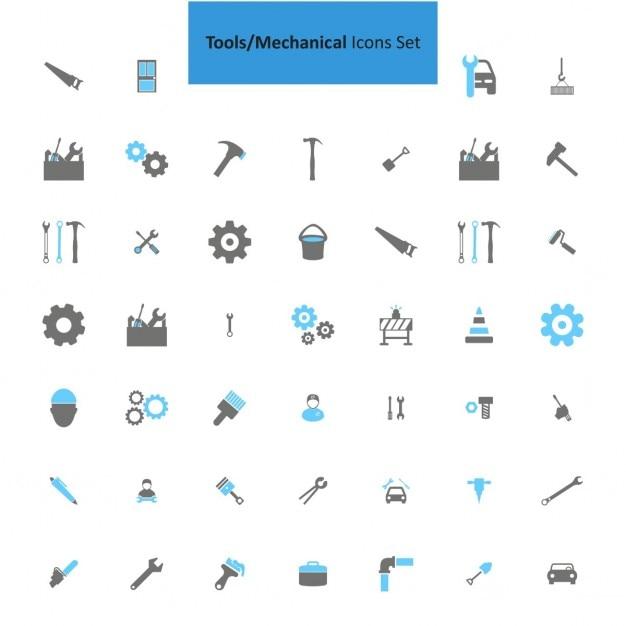 Werkzeuge mechanische icon-set Kostenlosen Vektoren