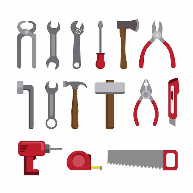 Werkzeugreparatur- und konstruktionssammelsymbol flach gesetzt Premium Vektoren