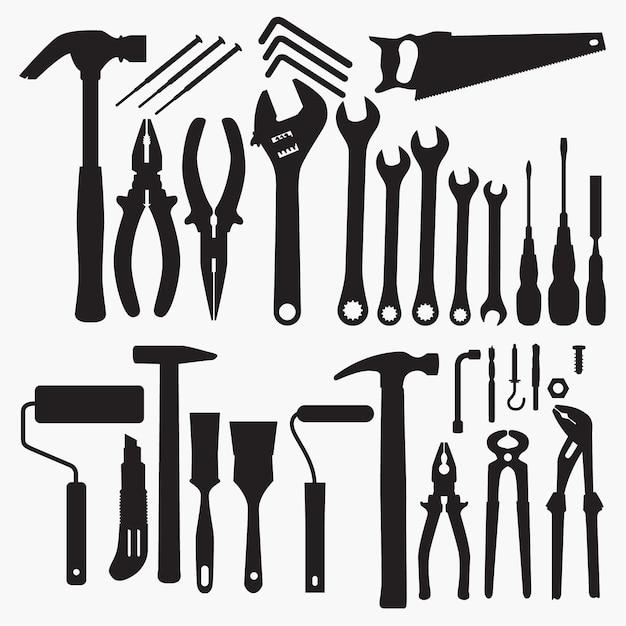 Werkzeugsammlung silhouetten Premium Vektoren