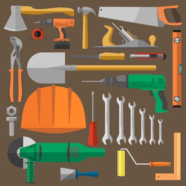 Werkzeugsatz für gebäude Premium Vektoren