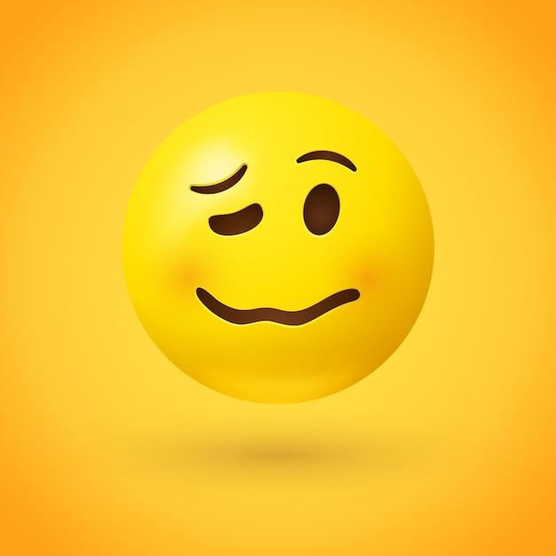 Wermutliches gesicht emoji müde, emotional oder betrunken Premium Vektoren