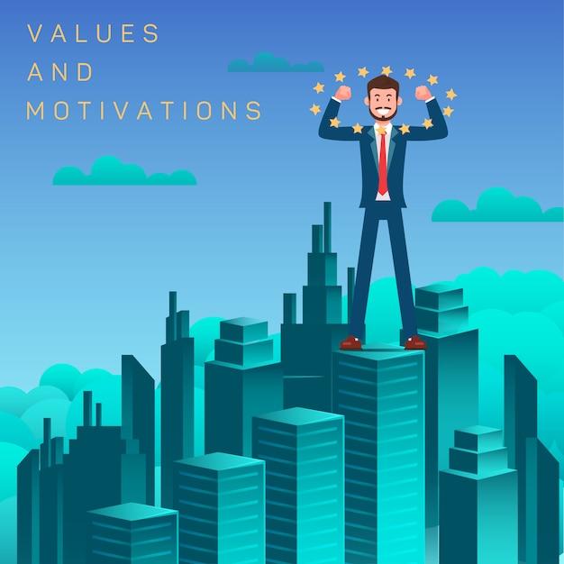 Werte und motivation flach Premium Vektoren